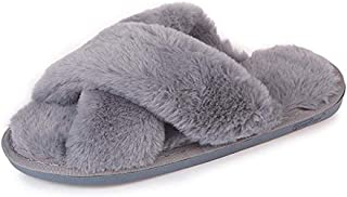 Womens Faux Fur Slippers Warm Fussy Flip Flop House Slippers Open Toe Home Slippers for Girls Men