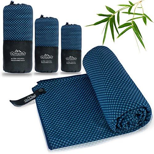 Outdoro Toalla de viaje con carbón de bambú, ultraligera y absorbente, más cómoda que las toallas de microfibra, ideal para deportes, baño, playa, sauna para viajes y fitness.