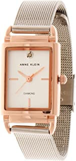Anne Klein Womens Quartz Watch, Analog Display and Stainless Steel Strap AK-3037SVRT