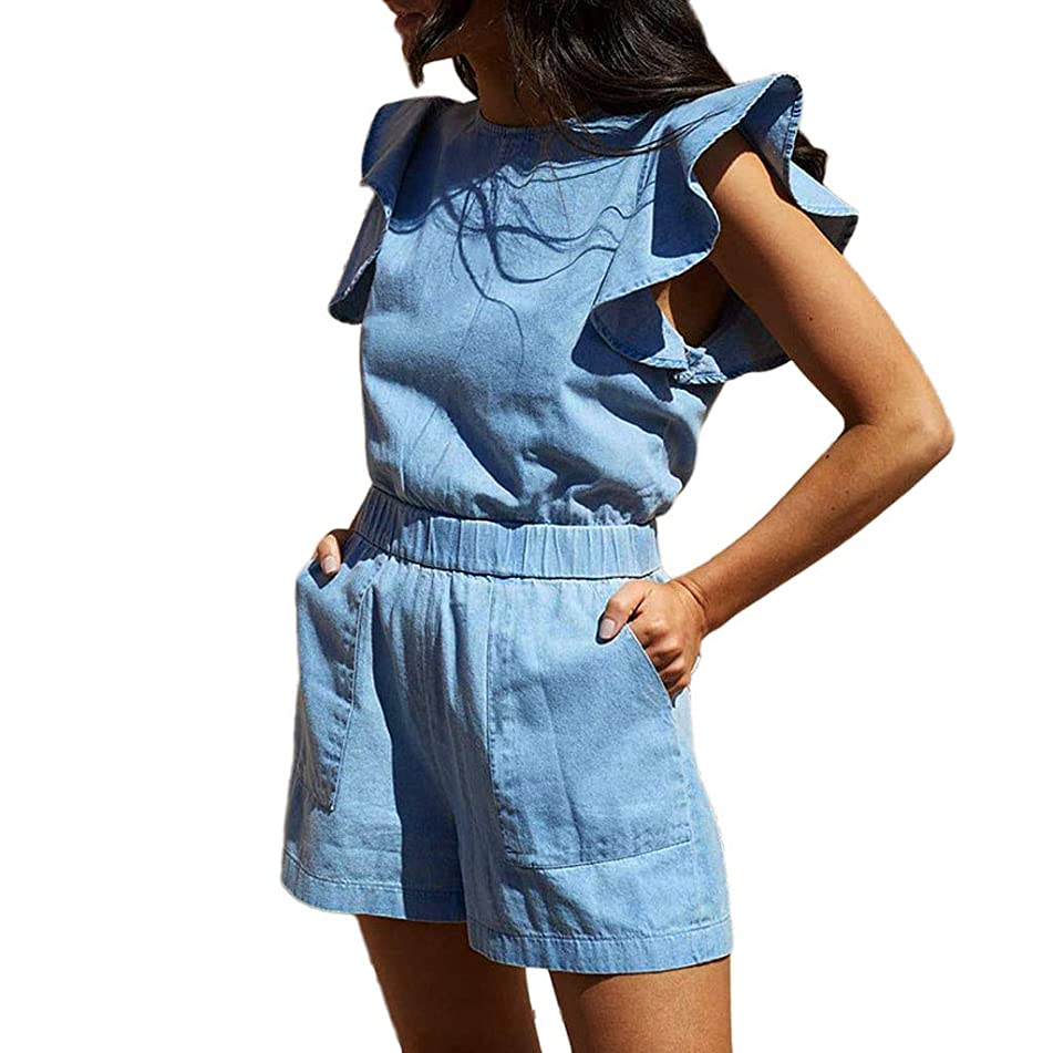 Fheaven Women Sleeveless Ruffles Denim Shorts Playsuit Summer Beach Party Romper Jumpsuit with Pockets