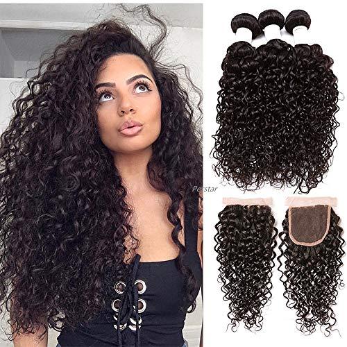 "Perstar Wet and Wavy Human Hair Weave Bundles Water Wave 4 Bundels With Closure Brazilian Virgin Curly Hair Bundles 8A Unprocessed Remy Human Hair Bundles Water Wave Hair Extensions20""22""24""26""+18"""