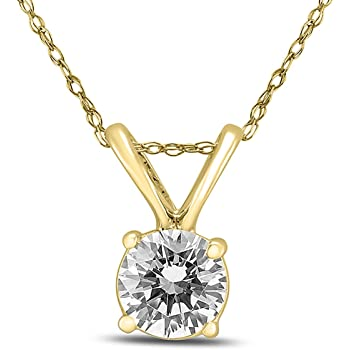 AGS Certified 1/3 Carat Diamond Solitaire Pendant in 14K Yellow Gold