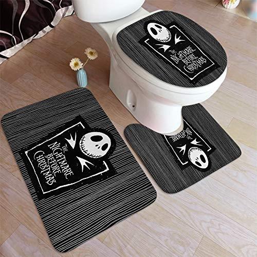 3 Piece Super Plush Non-Slip Bath Mat Rug Set Nightmare Before Christmas Toilet Carpet Rugs…