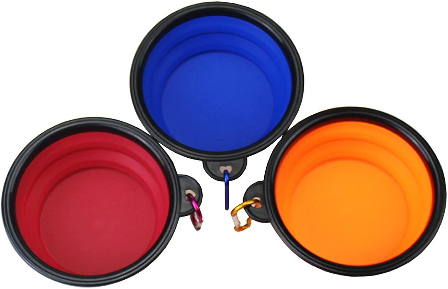 3 Pack Collapsible Pet Bowls, Portable Travel Foldable Pet Bowl Feeding Food Water for Cat and Dog (bluee&orange&pink Pink)