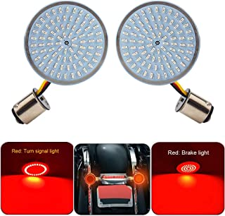TKD 2 Inch Bullet Style 1157 LED Rear Turn Signal Kit Red Brake Light Running Light for Harley Softail Dyna Touring Motorcycle(No Smoked Lenses)