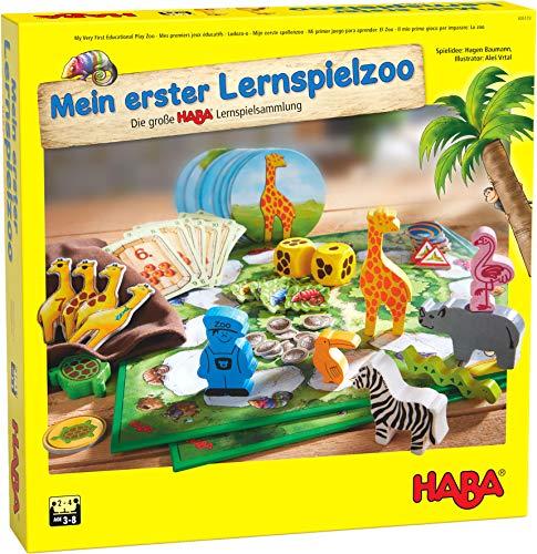 HABA 305173 - Mein erster Lernspielzoo, 10 Lernspiele zur Förderung von Konzentration, Zahlenverständnis, Tastsinn und Erkennen von Formen und Farben; Spiele ab 3 Jahren
