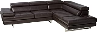 J and M Furniture A761 Italian Leather Sectional Slate Coffee, Modern