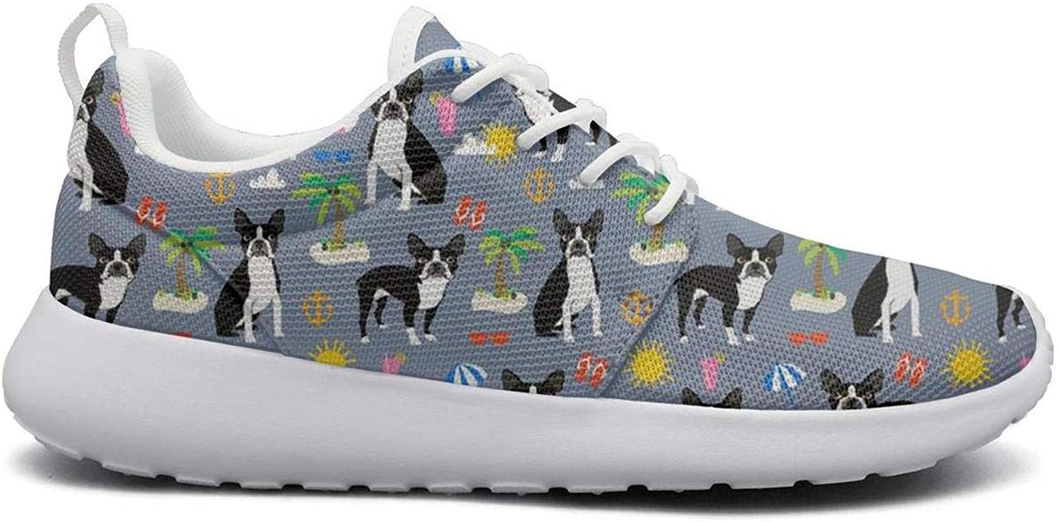Boston Terrier Beach Summer dog pattern cool Print women sports Running shoes Casual Lightweight Athletic Sneakers