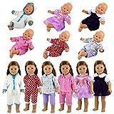 Miunana 6 Articoli: 6 Abiti Vestiti Tuta alla Moda per 36 CM - 46 CM (14 Pollici - 18 Pollici) Bambola, American Girl Dolls, bebé Bambolotti, Cicciobello, Amore Mio Ed Altre Bambole