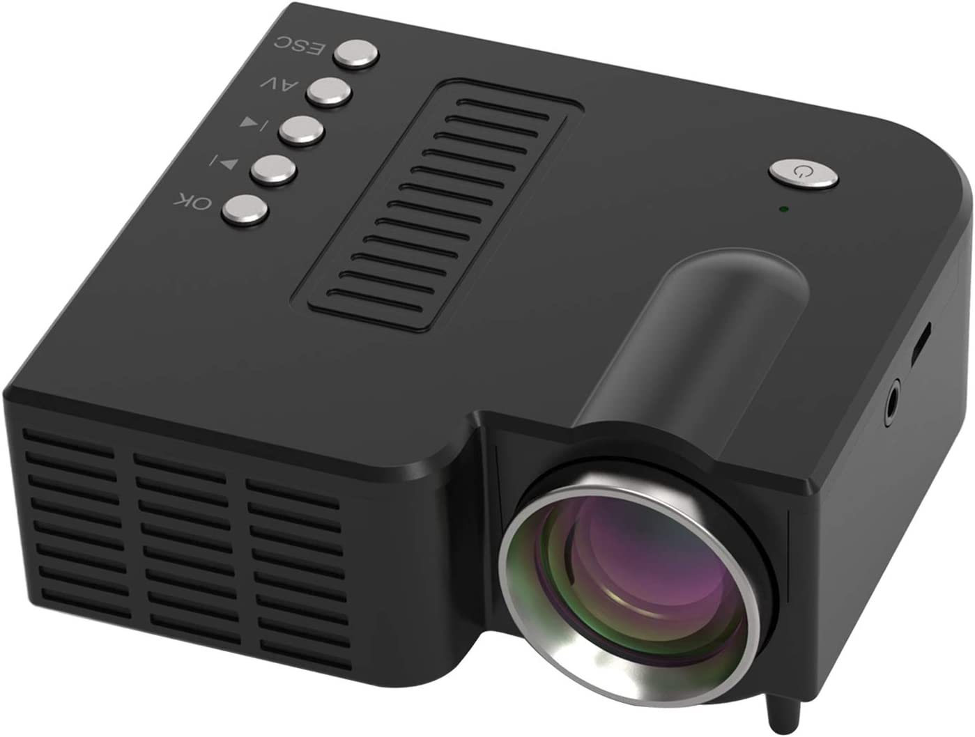 Prettyia Mini Projector, 1080P HD Video DLP Portable Projector WiFi, Wired Screen, Pocket Sized Home Theater Projector - Black