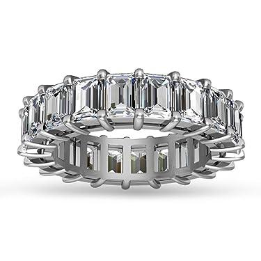 Madina Jewelry 5.00 ct Emerald Cut Diamond Eternity Wedding Band Ring in 14 kt White Gold