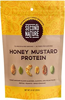 Second Nature Honey Mustard Protein Trail Mix - Functional Snack Nut Blend - 10 oz Resealable Standup Pouch