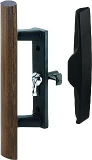 Prime-Line MP1095 Sliding Door Handle, 3-1/2 in, Diecast & Wood, Black, Hook Style, Internal Lock, 1 Set