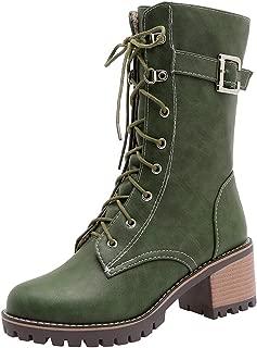 RizaBina Women Round Toe Military Lace up Combat Boots