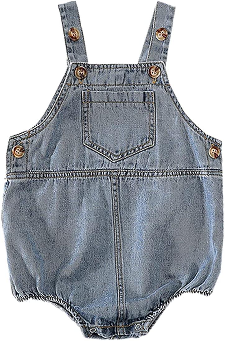DINGDONG'S CLOSET Baby Toddler Boy Girl Denim Pocket Shortall Jean Triangle Short Overalls