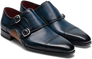 Costoso Italiano Navy Blue Leather Formal Monk Strap Shoes for Men