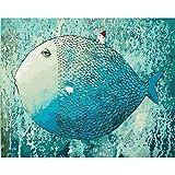 Iejsgfj Pintura por Números Pescado Azul Dormido DIY Pintura al óleo Kit Digital con Pigmentos Pinceles y Pinturas para Adultos Niños Seniors Decoraciones para el Hogar Regalos