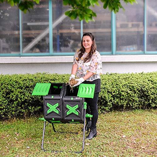 CRZJ Bidone per compostiera Rotante da Giardino a Doppia Camera, Contenitore per rifiuti compostaggio con Aperture di Ventilazione, Adatto per l'uso Tutto L'Anno, 140L