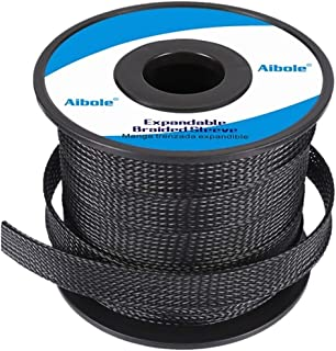 PET Expandable Braided Sleeving with Heat Shrink Tube for PC Cords,100ft 0.25 inch Braided Sleeving to Prevent Pets from C...