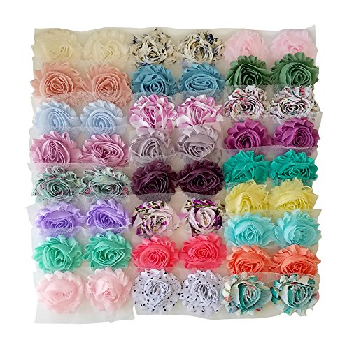 Luxe Shabby Trim Collection - DIY Rosette Trim Kit - Includes 50 Pieces in 25 Colors! - Shabby Rosette Trim - Solid Colors and Prints - Great for Weddings, Bridal Showers, DIY Crafts, and More!