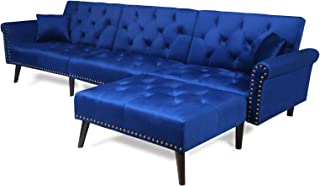 Sectional Sofa Bed with Chaise Recliner Back Modern Day Bed Nailhead Trim for Living Room Small Spaces (Navy Blue)