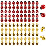 Famicitate 100 Pcs Tiny Resin Bumble Bees Ladybugs for Crafts Wreath Scrapbooking Embellishment DIY Party Decoration Home Making Supplies