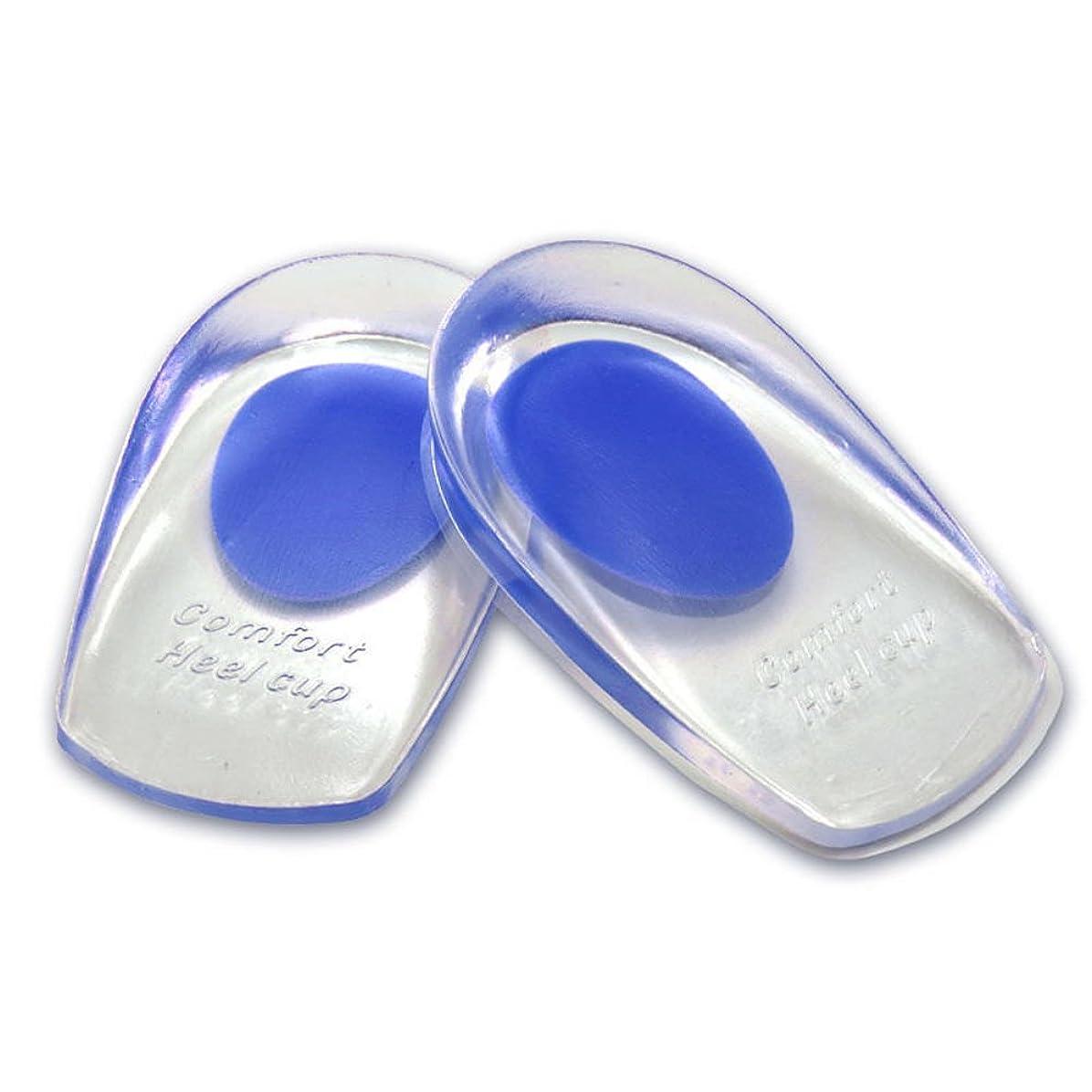シリコンヒールカップ かかとの痛み防止に ソフトシリコン製 インソールクッション 衝撃緩和 立体形状 フィット感抜群 FMTMXCA2S (ブルー(靴サイズ24.5~27.5cm用))