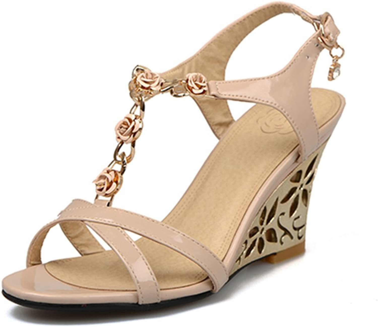 RHFDVGDS Wedge sandals Sweet flowers High student shoes