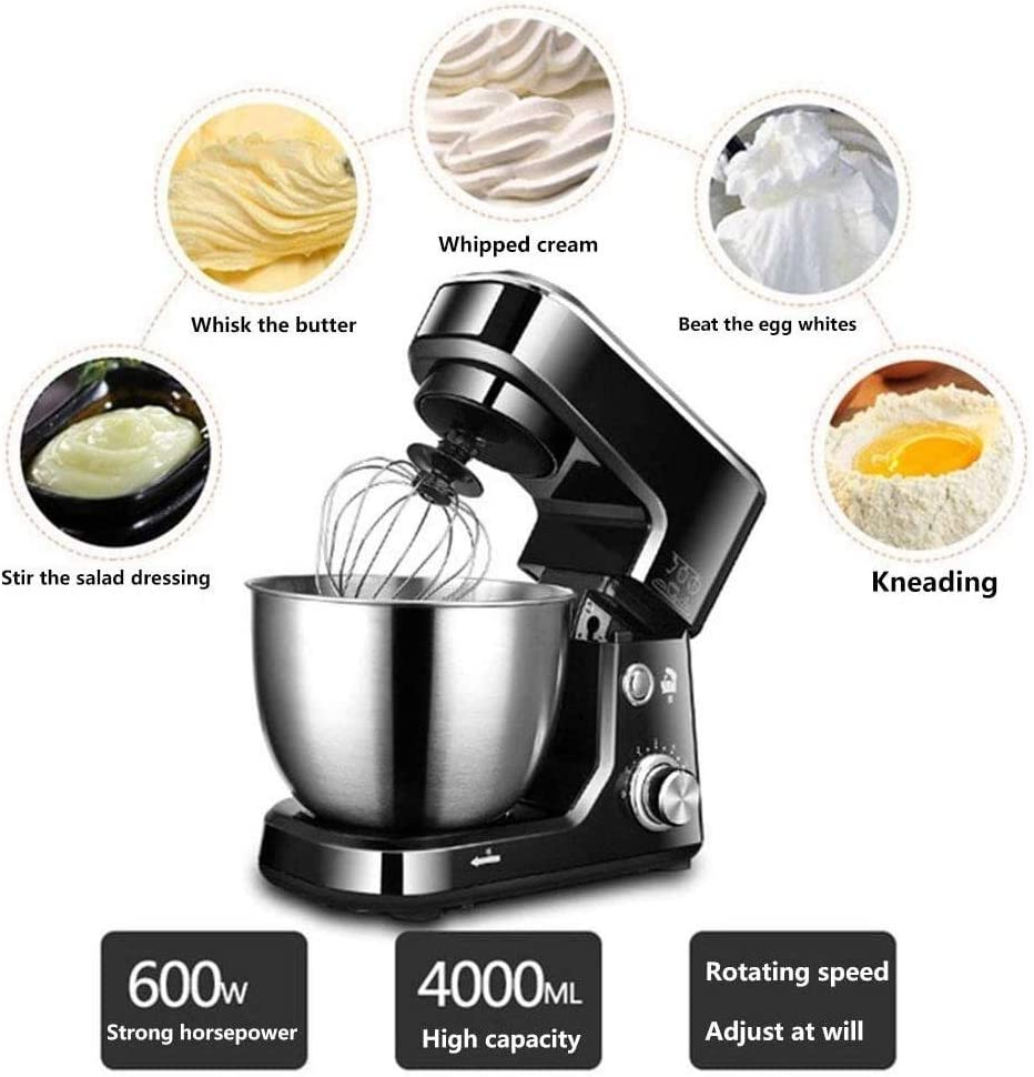 Keuken Mixer 8 Speed Deeghaak Ballon Zwaait 4L roestvrijstalen kom 600W for Kitchen Baking Cake Mini Egg Cream Eten Beater (Color : 4l 600w White) 4l 600w Pink