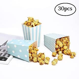 30 Popcorn Boxes Blue Trio Polka Dot, Chevron, and Striped Assorted Designs - Movie Theater Night, Festivals, Wedding Favors
