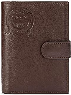 Leather Business Leisure Wallet for Men with Large Capacity and Multi-Function Passport Book (Color : Brown, Size : S)