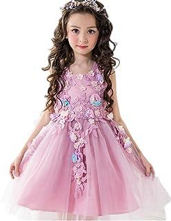 子供ドレス キッズワンピース ジュニアドレス 女の子 フラワーガールラウンドネック花飾り お嬢様のドレス 披露宴 結婚式 入園式 発表会