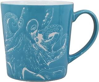 Ebros Nautical Ocean Marine Octopus Drinking Beverage Blue Stoneware Ceramic Mug 16oz Drink Coffee Cup Sea Life Themed Glazed Earthenware Kitchen And Dining Mugs Accessory Coastal Sea Kraken Decor