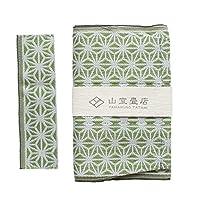 畳縁のブックカバー (麻の葉・緑, 新書/コミックサイズ)