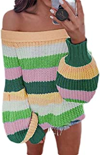 FSSE Women's Casual Off Shoulder Color Block Knitted Loose Fit Sweater Pullovers