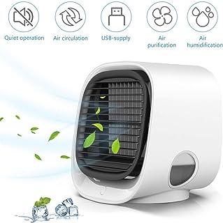 Luckywing Aire Acondicionado Portátil Mini Enfriador de Aire, 4 en 1 Humidificador Purificador Ventilador Silencioso Filtro de Algodón Actualizado Climatizador móvil para Casa, Oficina y Coche