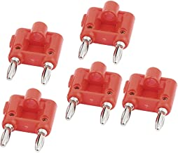 uxcell 5pcs Red 4mm Wire Dual Port Banana Male Connector Audio Jack for Speaker