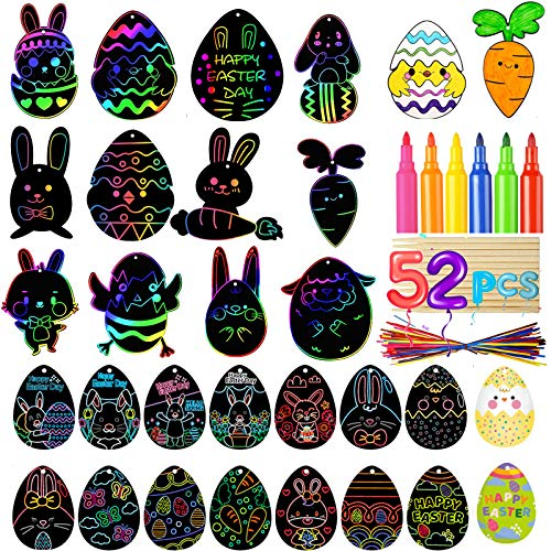 Easter Scratch Craft Art Kits, 52 Pcs Black Rainbow Scratch Drawing, Easter Egg Bunny Chick Shape with Ribbons Wooden Scratch Tools Crayons for Easter Party Gift, Hanging Home and Classroom Decoration