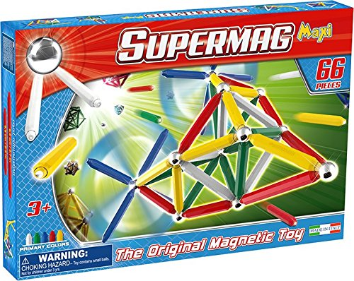 Supermag Toys- Gioco di Costruzioni Magnetico, Colori primari, 66, 0103