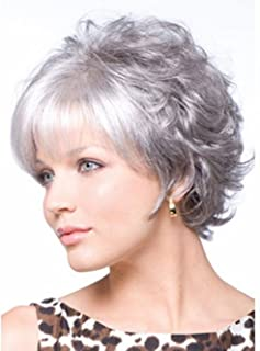 ELIM Wigs for Women Short Hair Silver Gray Woman Wigs Natural Looking Frizzy Wig with Wig Cap Z070GY