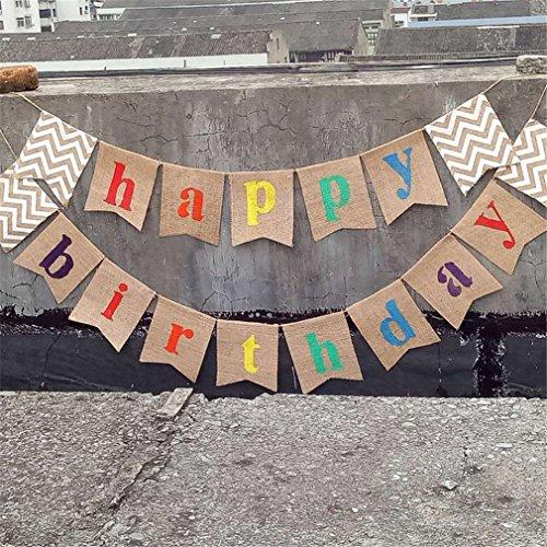 Gracelaza 17PCS / 2M 'Happy Birthday' Arpillera del empavesado Banner - Ropa de Yute arpillera rústica banderines Banderas arpillera Encaje banderín Guirnalda Fiesta Boda decoración