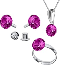 Beforya Paris - Big Set - Impeccable Brilliants - Fuchsia- 925 Silver Set - Crystals from Swarovski - Studs with Necklace and Ring 925 Sterling Silver Woman - with Gift Box PIN/75