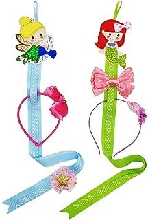 Hixixi 2PCS Baby Girls Mermaid Fairy Ribbon Headband and Hair Clips Holder Storage Organizer (Mermaid and Fairy(2PCS))