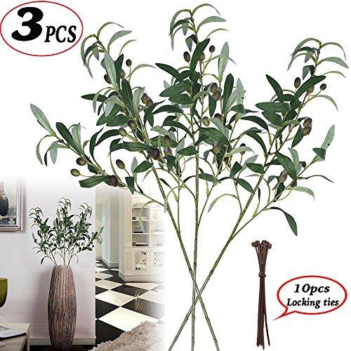 Ramas de tallos de plantas de oliva artificiales de 71,12 cm, plantas artificiales, hojas verdes, hojas de rama, hojas para casa, oficina, puerta, exterior DIY-Wreath Decor