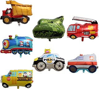 BALONAR 7PCS Train Ambulance Police Car School Bus Fire Truck Tank Foil Balloons Vehicles Balloons for Child Birthday Party Supplies Cute Baby Shower Decorations