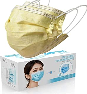 Air Purifying Face Mask Cover Anti Dust 3 Layer Mouth Filter Covers Disposable Face Non Woven, Non Latex Breathable Cover with Earloops Protective Cover 50 pcs (yellow)