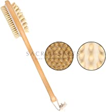 Sacred Salts Wooden Double Sided Body Brush With Massager and Long Handle   Natural Boar Bristles   Dry Brushing Removes Dead Skin, Treats Cellulite & Stimulates Blood Flow, Beige, 190 g