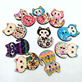 Aiming 50 unids/Pack DIY Gato de la Historieta impresión de Color Botones de Madera Botones de Madera Gato Decorativo Hecho a Mano Gato de Dibujos Animados
