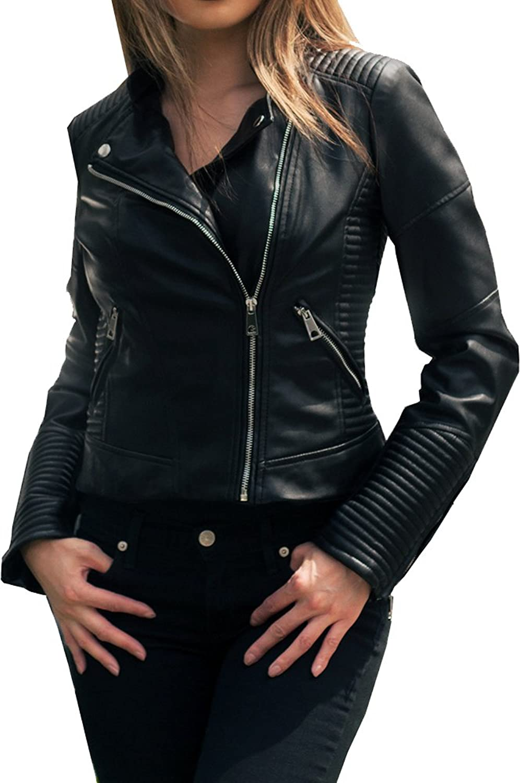 Framework LatteBlack Women's Faux Leather Moto Jacket