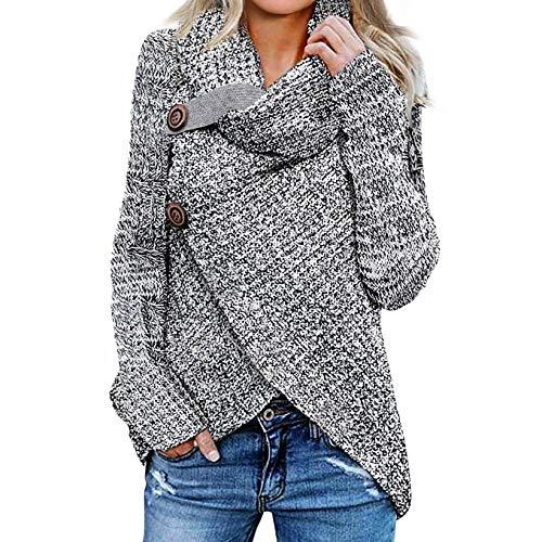 iHENGH Damen Langarm Solid Sweatshirt Pullover Tops Bluse Shirt Strickpullover(A Grau-1, XL)
